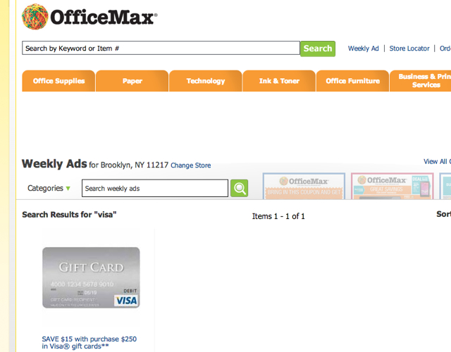 Office Max Visa Gift Card Deal
