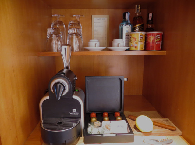 Amanjena Review Marrakech Morocco - Nespresso Machine and Mini Bar