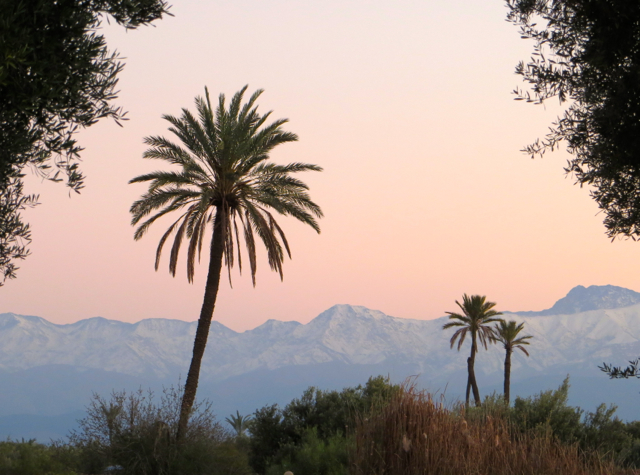 Amanjena Review, Marrakech Morocco - Atlas Mountains at Sunset