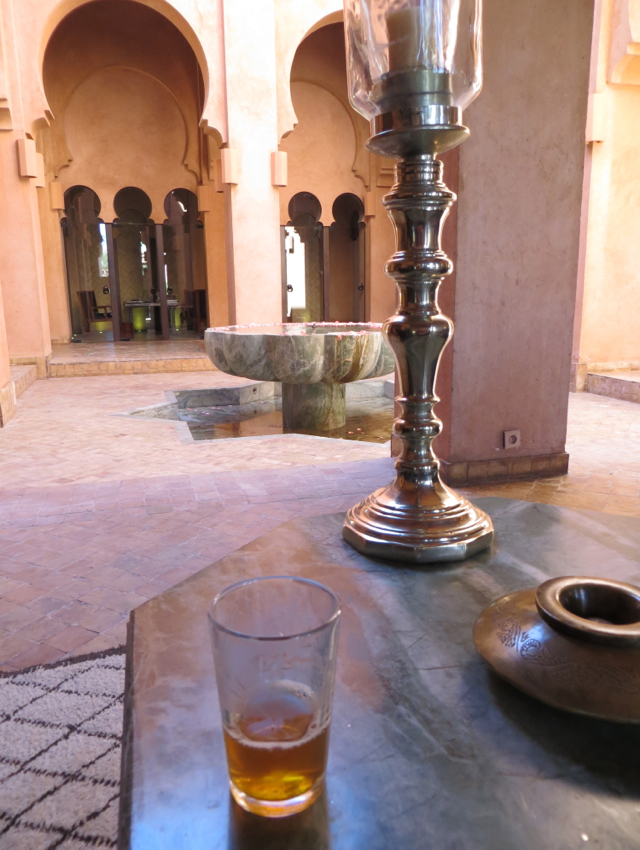 Amanjena Review Marrakech Morocco - Welcome Drink - Mint Tea in Courtyard Lobby