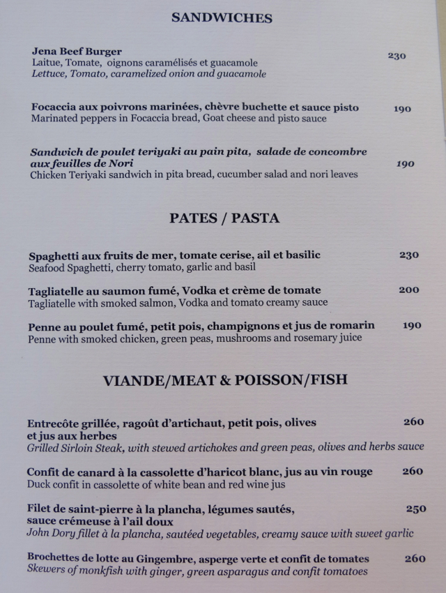 Amanjena Lunch Menu - Sandwiches Pasta