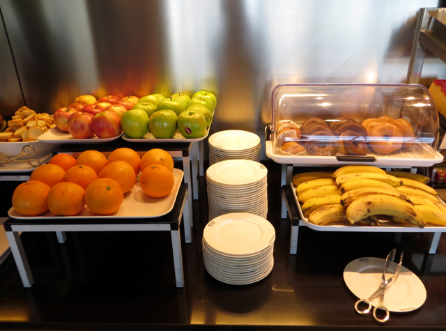 Iberia Business Class Lounge Madrid Review - Whole Fruit and Doughnuts