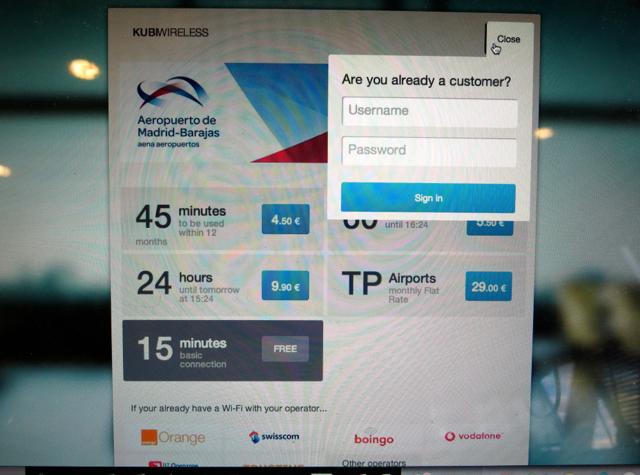 Iberia Business Class Lounge Madrid Review - Kubi Wireless WiFi Access