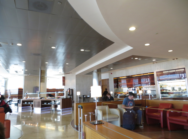 Iberia Business Class Lounge Madrid Review - Seating and Buffet Area
