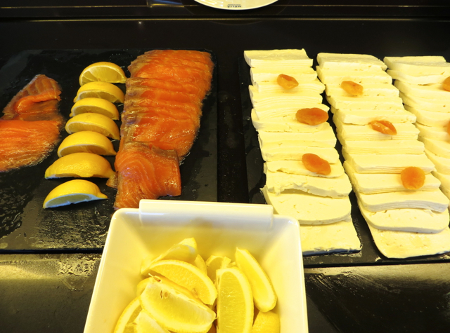 Iberia Business Class Lounge Madrid Review - Smoked Salmon and Queso Blanco