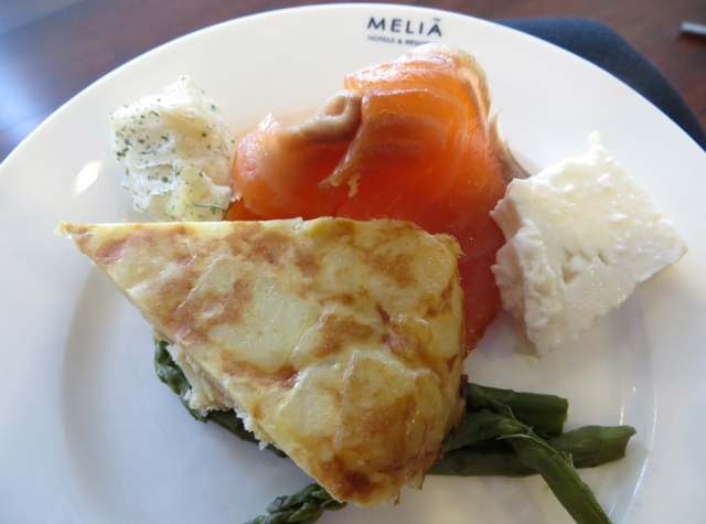 Iberia Business Class Lounge Madrid Review - Smoked Salmon Tortilla and Asparagus