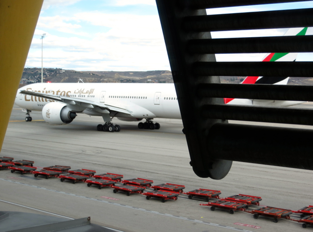 Iberia Business Class Lounge Madrid Review - View of Runway-Emirates Plane