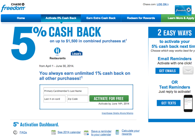 Activate Chase Freedom 5X Q2 2014 Bonus for Restaurants and Lowe's