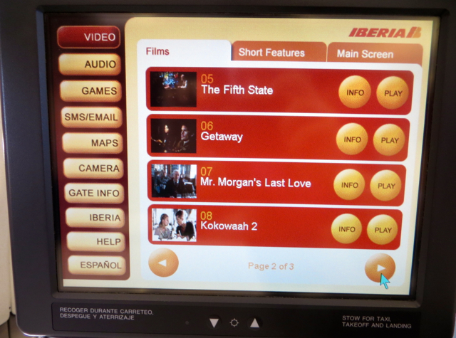 Iberia Business Class A340-600 Review - IFE Screen
