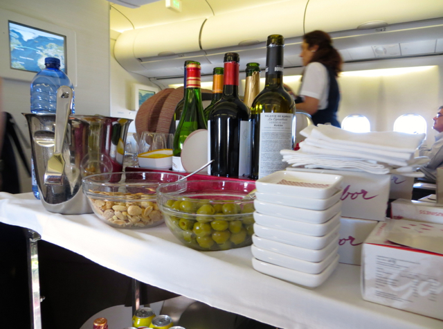 Iberia Business Class A340-600 Review - Wines and Snacks