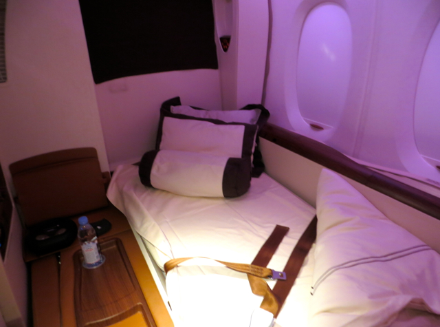 Singapore Suites A380 Review JFK to Frankfurt - Bed after Turndown Service