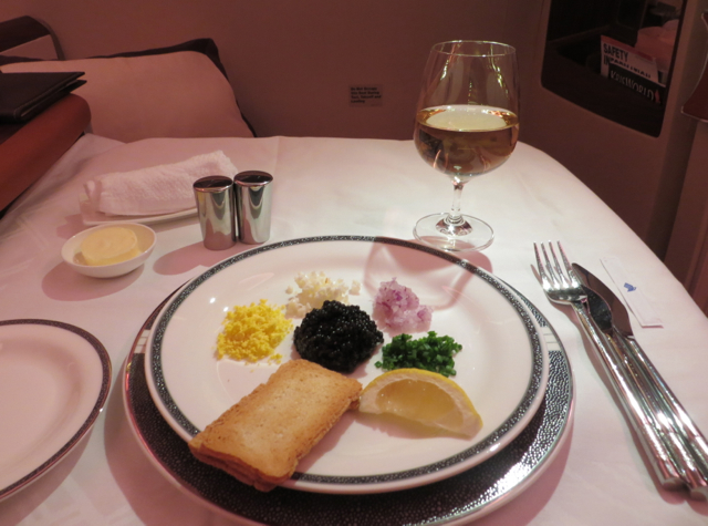 Singapore Suites A380 Review JFK to Frankfurt - Caviar Appetizer