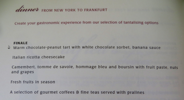 Singapore Suites A380 Review JFK to Frankfurt - Dessert Menu