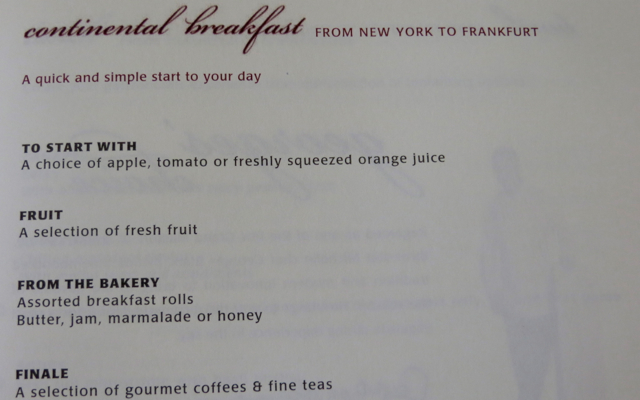 Singapore Suites A380 JFK to Frankfurt - Breakfast Menu