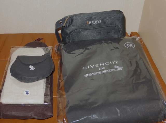 Singapore Suites A380 Review JFk to Frankfurt - Givenchy Pajamas, Sothys Amenity Kit, Slippers
