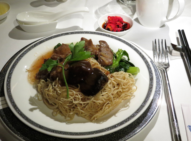 Singapore Suites A380 Review - Frankfurt to Singapore - Braised Local Noodles with Beef and Mushrooms