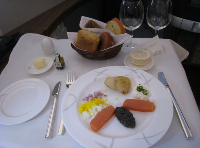 Cathay Pacific First Class Review NYC JFK to Hong Kong - Caviar and Balik Salmon