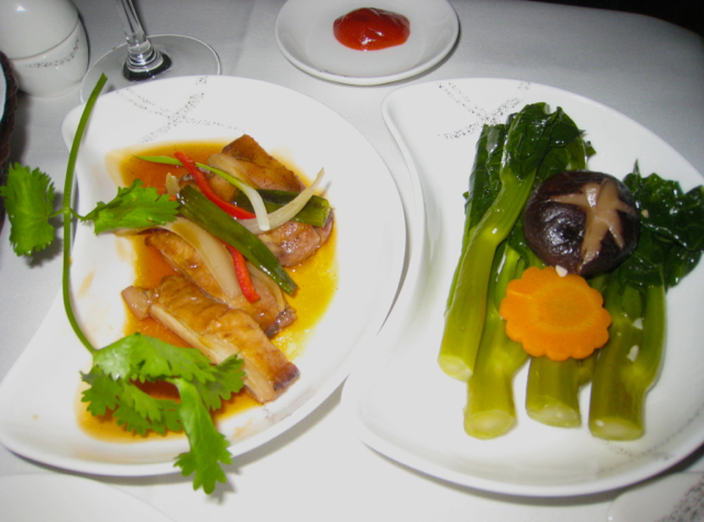 Cathay Pacific First Class Review - Dinner - Five Spice Chicken with Kailan