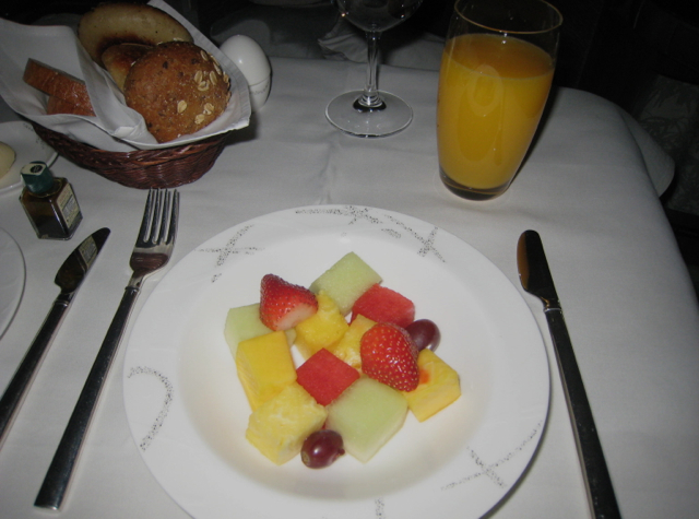 Cathay Pacific First Class Review - Breakfast Fruit and Juice