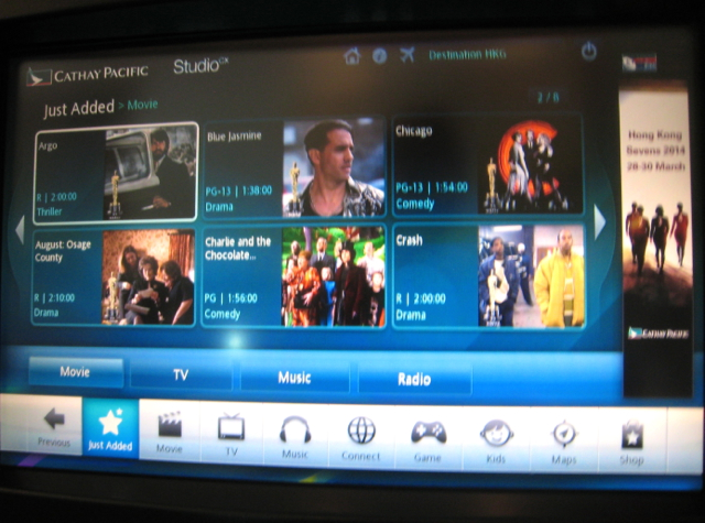 Cathay Pacific First Class Review - Movies