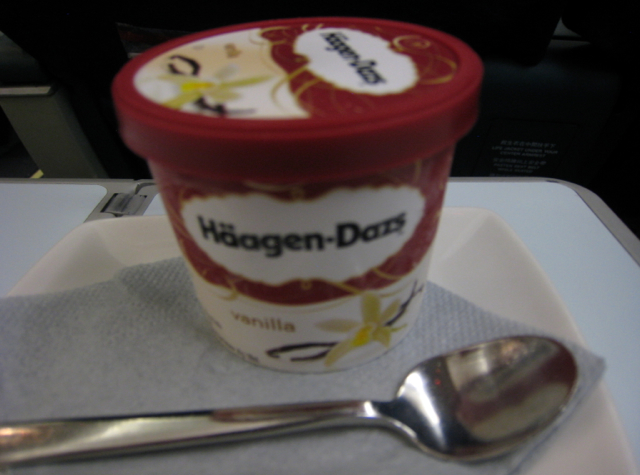 Cathay Pacific First Class Review Haagen Dazs Vanilla Ice Cream