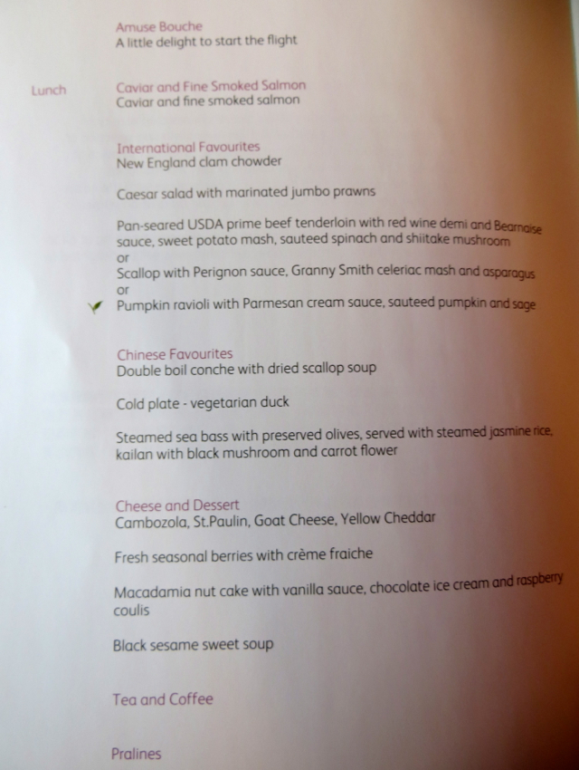 Cathay Pacific First Class Lunch Menu NYC JFK to Hong Kong