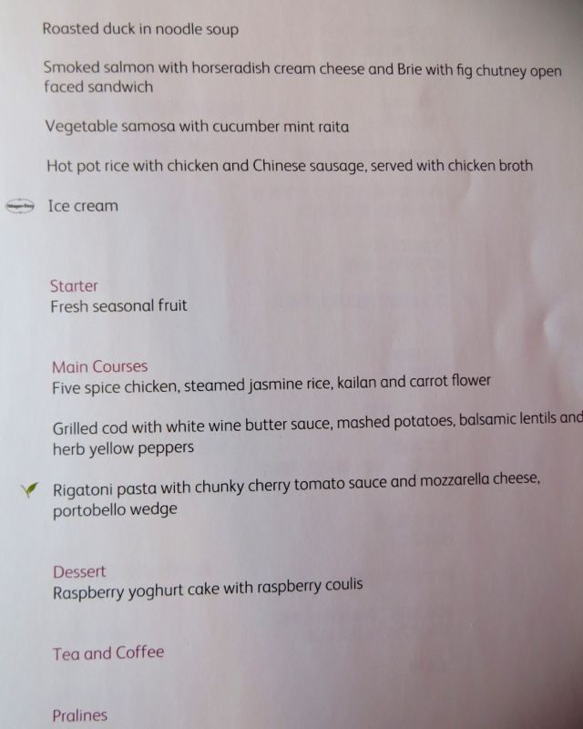Cathay Pacific First Class Dinner Menu and Snack Menu NYC to Hong Kong