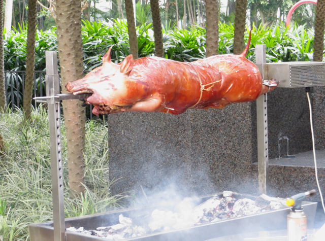 Review: Grand Hyatt Hong Kong Club Harbour View Room - Pig Roasting on Spit