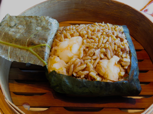 Tin Lung Heen Hong Kong Dim Sum Review - Lotus Leaf Wrapped Fried Rice with Seafood