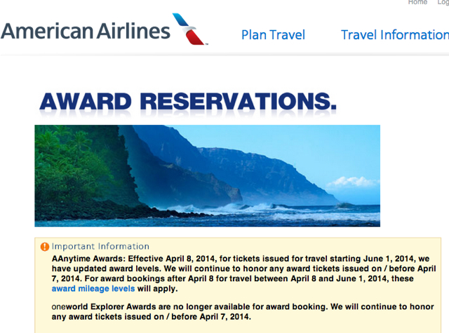 No More American AAdvantage Explorer Awards as of April 8, 2014