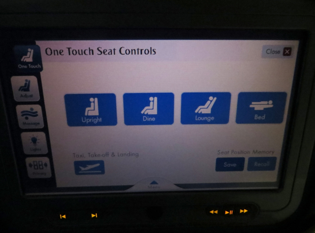 Emirates First Class A380 Review - One Touch Seat Controls