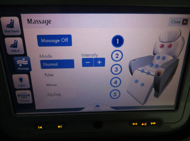 Emirates First Class A380 Review - Seat Massage Function