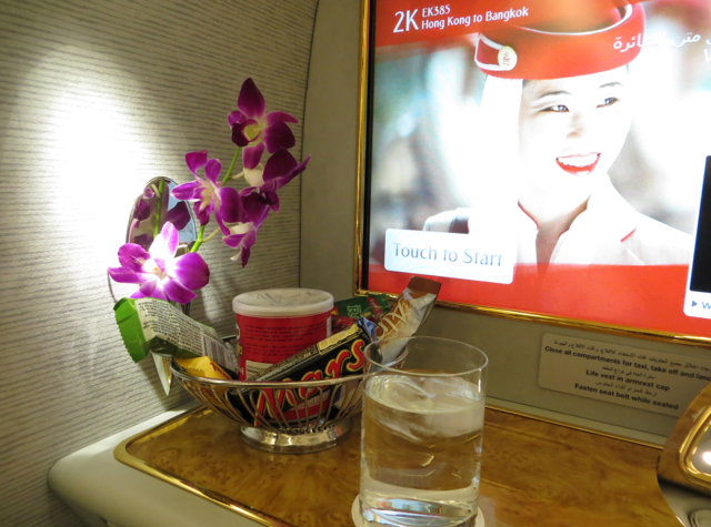 Emirates First Class A380 Review - Snack Basket and Pre-Flight Drink
