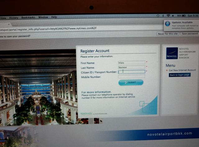 Review-Novotel Bangkok Suvarnabhumi Airport Hotel - Passport Number Needed for WiFi Access