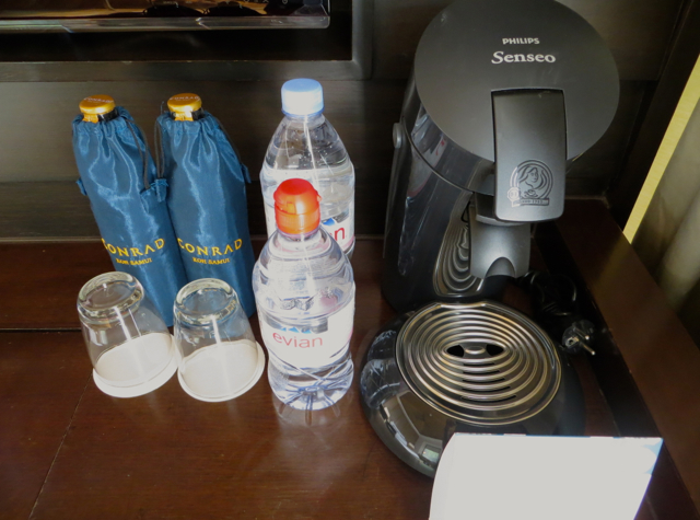 Conrad Koh Samui Review - Bottled Water and Coffee Maker