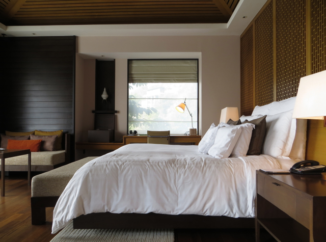 Conrad Koh Samui Review - King Bed, Desk and Sitting Area