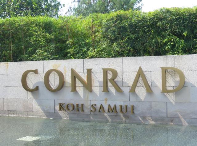 Conrad Koh Samui Review - Conrad Koh Samui sign at reception