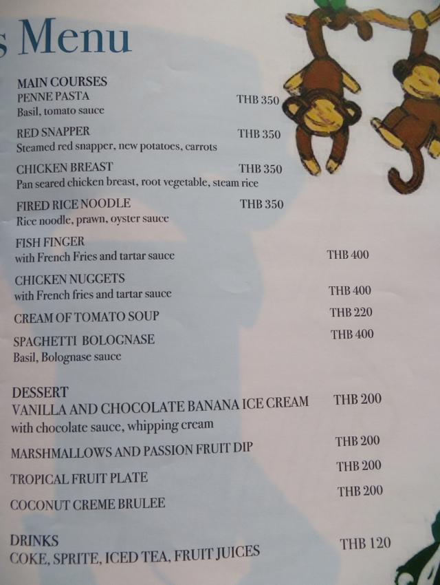 Conrad Koh Samui Jahn Restaurant - Kids Menu