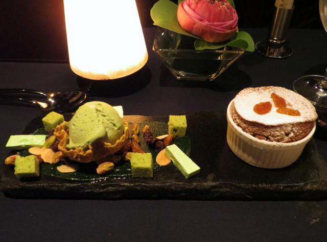 Chocolate Souffle with Pistachio Ice Cream, Jahn, Conrad Koh Samui