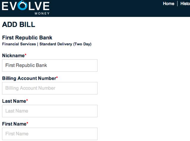 Evolve Money: Add Bill