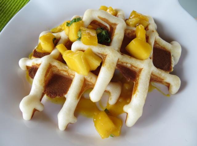 Four Seasons Koh Samui Breakfast - Waffle with Mango and Mint