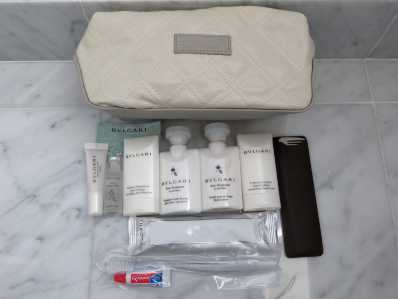 Asiana First Class Suite Review - Amenity Kit with Bulgari Toiletries