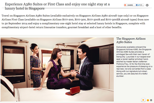 Singapore: Complimentary Singapore Hotel Stay for Suites and First Class Offer