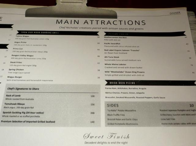 One Ninety Singapore Menu-Dinner