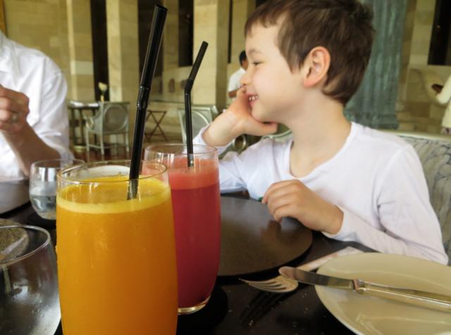 Amanjiwo Restaurant Food - Fresh Squeezed Juices at Breakfast