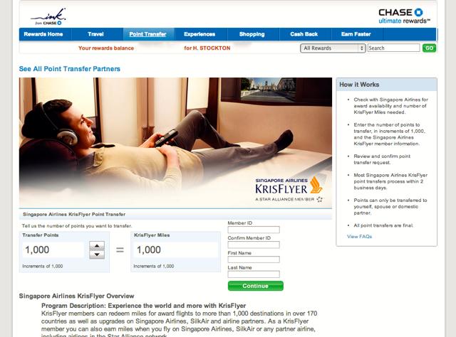 Singapore KrisFlyer: New Chase Ultimate Rewards Transfer Partner