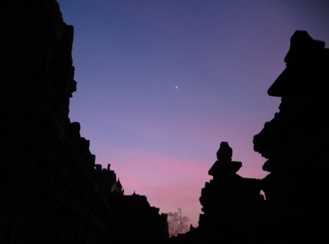 Borobudur Sunrise Tour - Borobudur Silhouetted Against Pre-Dawn Sky