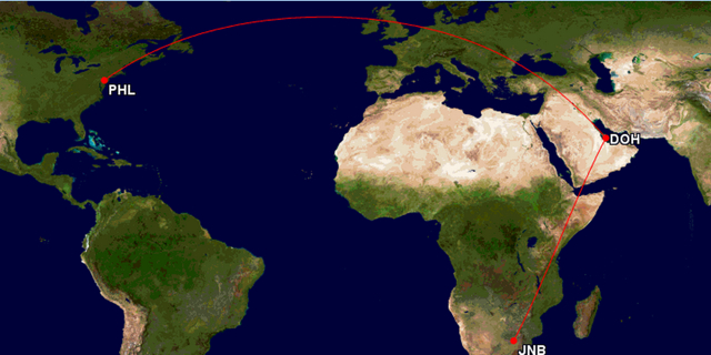 Qatar AAdvantage Award Routing Exceptions - North America to Africa via Doha