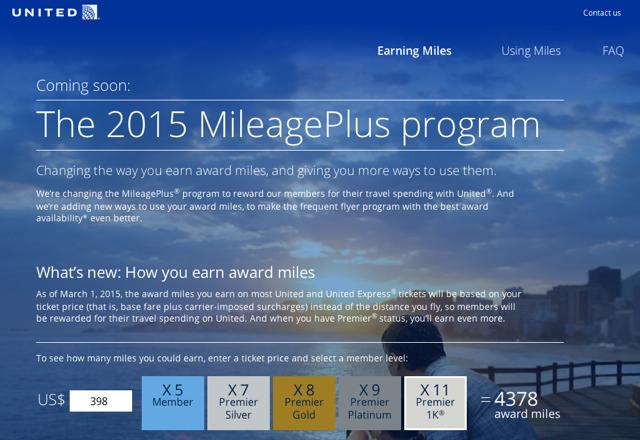 United MileagePlus Devaluation: Revenue Based Earning