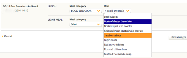Singapore Airlines: How to use Book the Cook to Pre-Select Your Meal